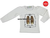 Белая нарядная детская кофта реглан туника для девочек с туфельками 5 лет. Турция!!!