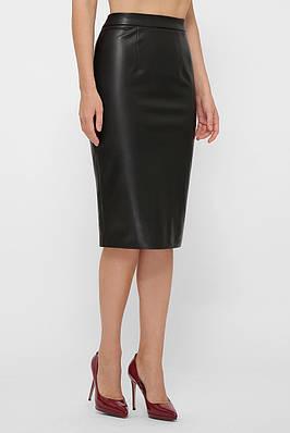 Черная юбка-карандаш миди из эко-кожи на флисе