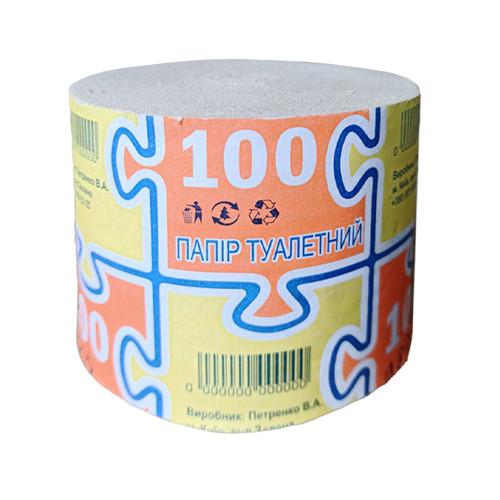 """Туалетная бумага """"100"""", - 4 шт, без гильзы, серая"""