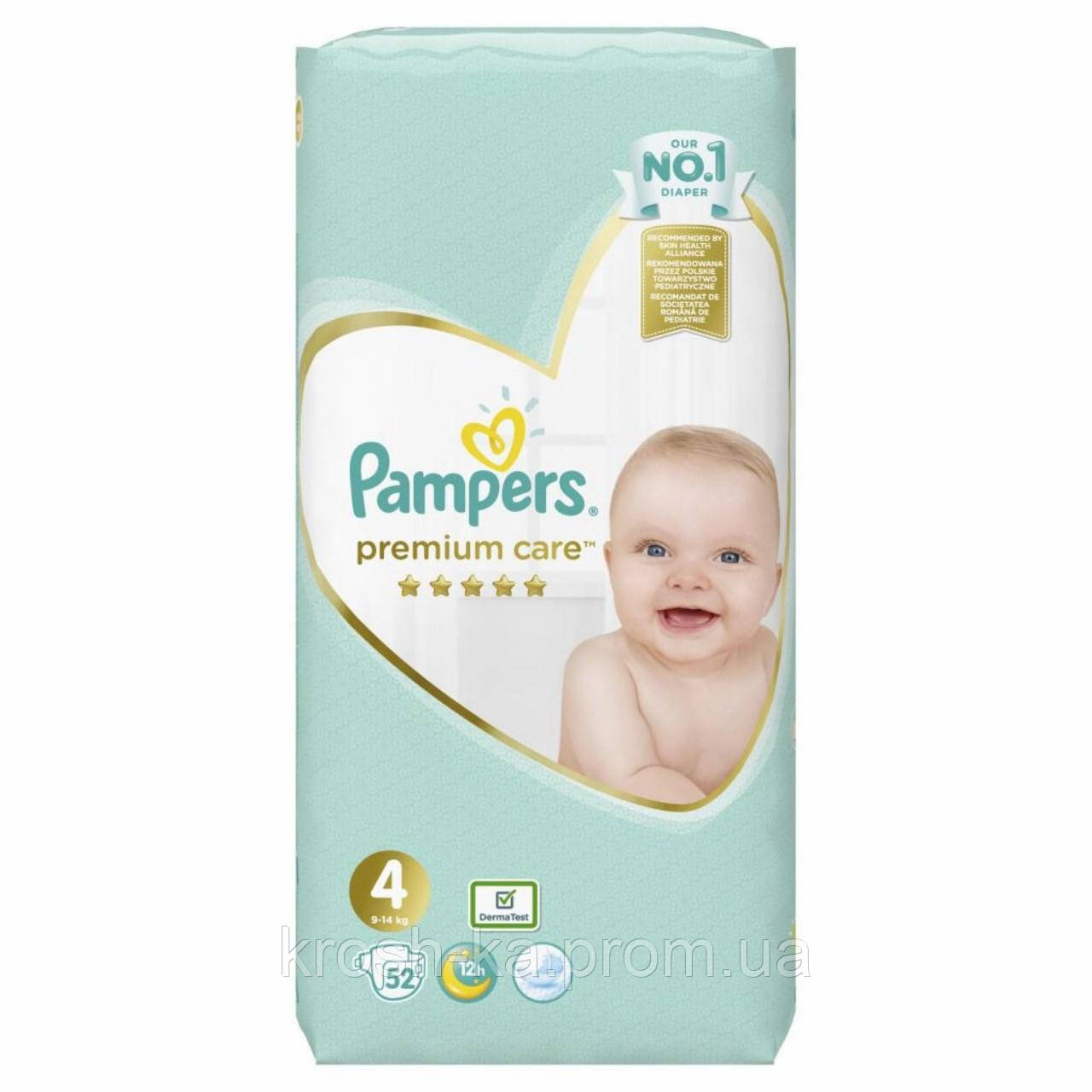 Подгузники Pampers Premium Care 4(9-14кг) 52шт Польша 89705