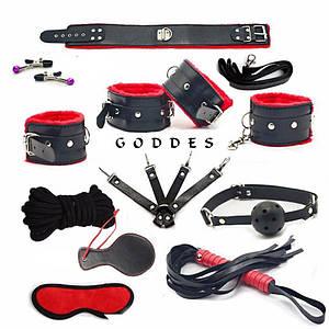 Набор секс игрушек Goddes 11 предметов для бдсм игр Большой комплект черный с красным мягкий