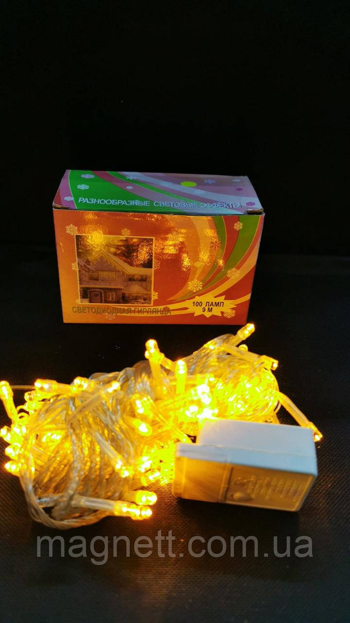 Гирлянда cветодиодная желтая на 100 Led