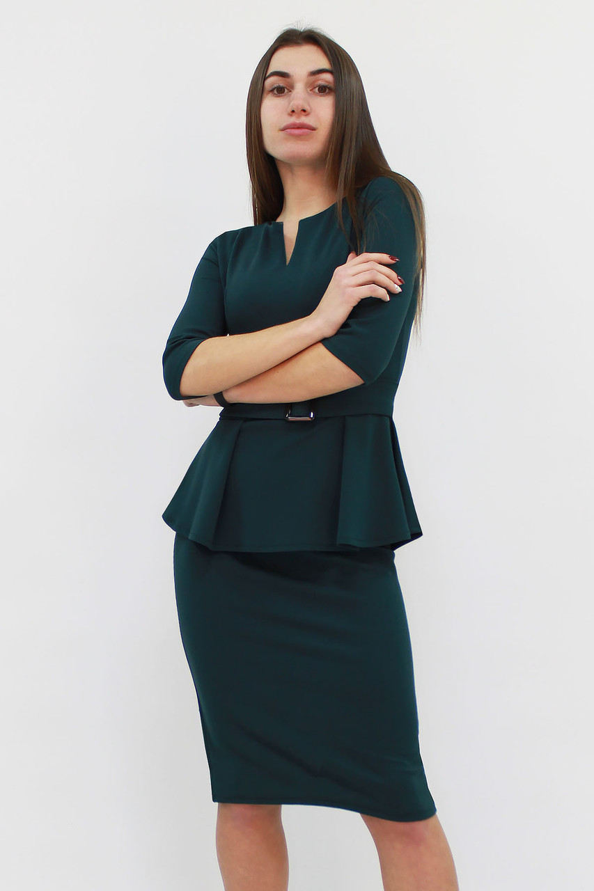 Классическое платье с баской Venera, темно-зеленый