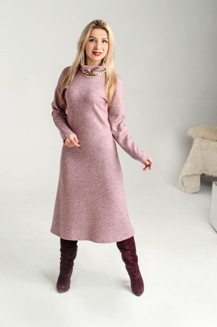 Теплое платье из ангоры розовое