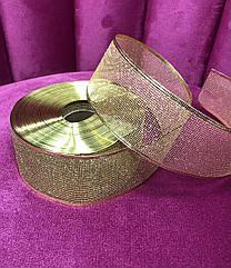 Декоративная лента новогодняя золото
