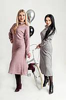 Платье с воротником-стойкой серое, фото 1