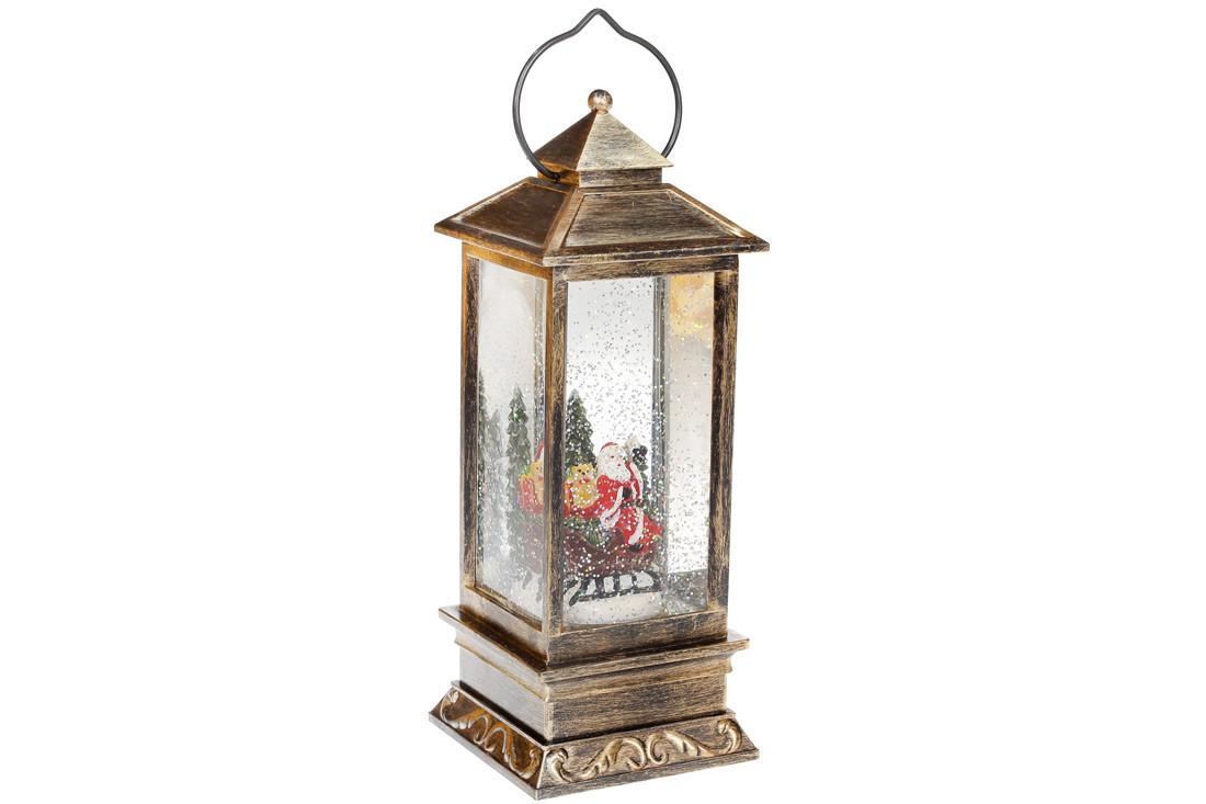 Декоративный фонарь с декором Санта внутри, с LED подсветкой (теплый свет) на батарейках (3хААА), 28см