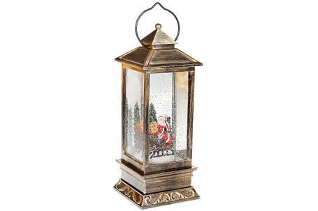 Декоративный фонарь с декором Санта внутри, с LED подсветкой (теплый свет) на батарейках (3хААА), 28см, фото 2