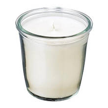 SMÅTREVLIG СМОТРЕВЛІГ Свічка ароматична у склянці, ваніль та морська сіль/натуральний, 7 см