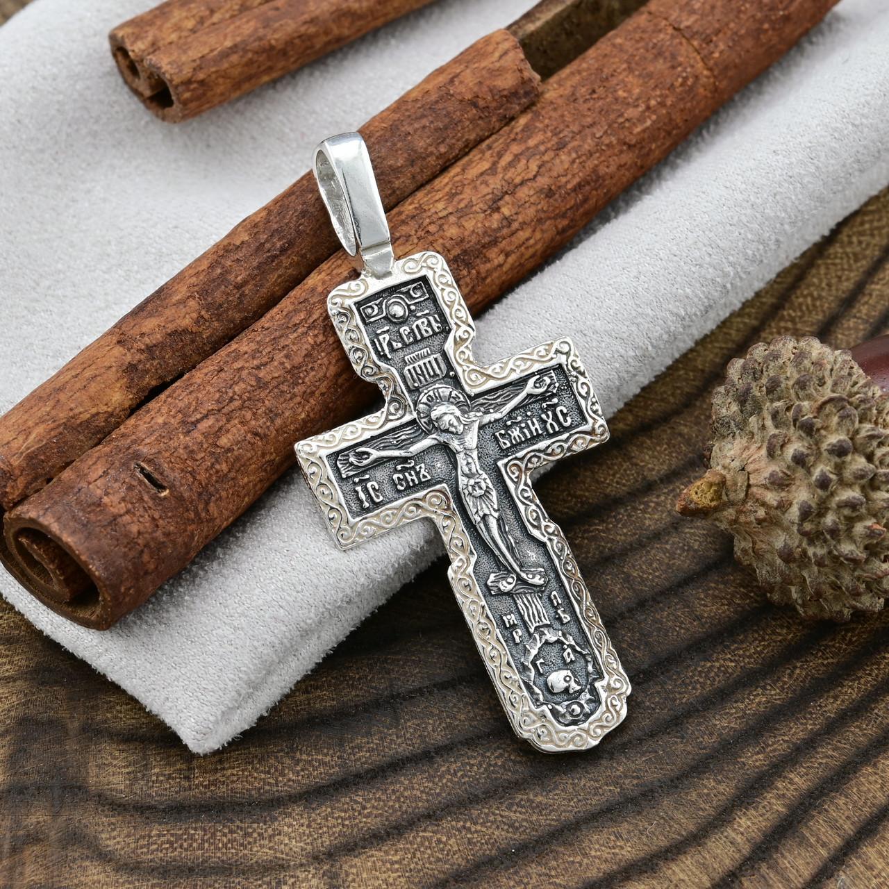 Серебряный крест Православный с родированием размер 47х22 мм вес 4.89 г