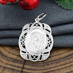 Срібна ікона Богородиця Казанська розмір 26х20 мм білі фіаніти вага 2.83 г