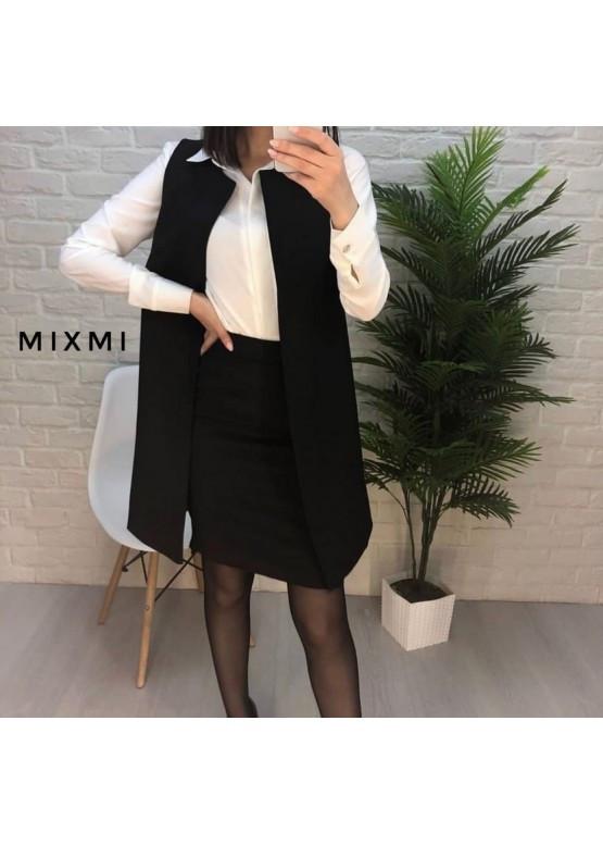 Женский офисный костюм кардиган без рукавов и юбка до колен