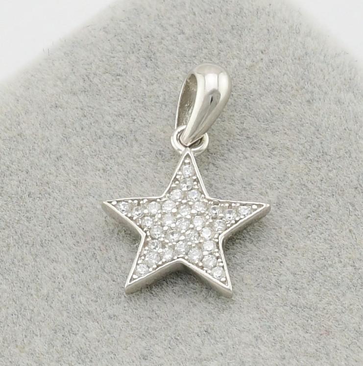 Серебряный кулон Алмазная звезда размер 19х12 мм вставка белые фианиты вес 1.15 г