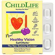 Комплекс Здоровое Зрение, натуральный ягодный вкус, Healthy Vision SoftMelts, Natural Berry Flavor, ChildLife,