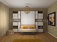 Белая шкаф-кровать с диваном