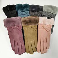 Рукавички жіночі пальтові на хутрі з манжетом, сеносор р 6.5-8.5 (1 уп./12 шт)