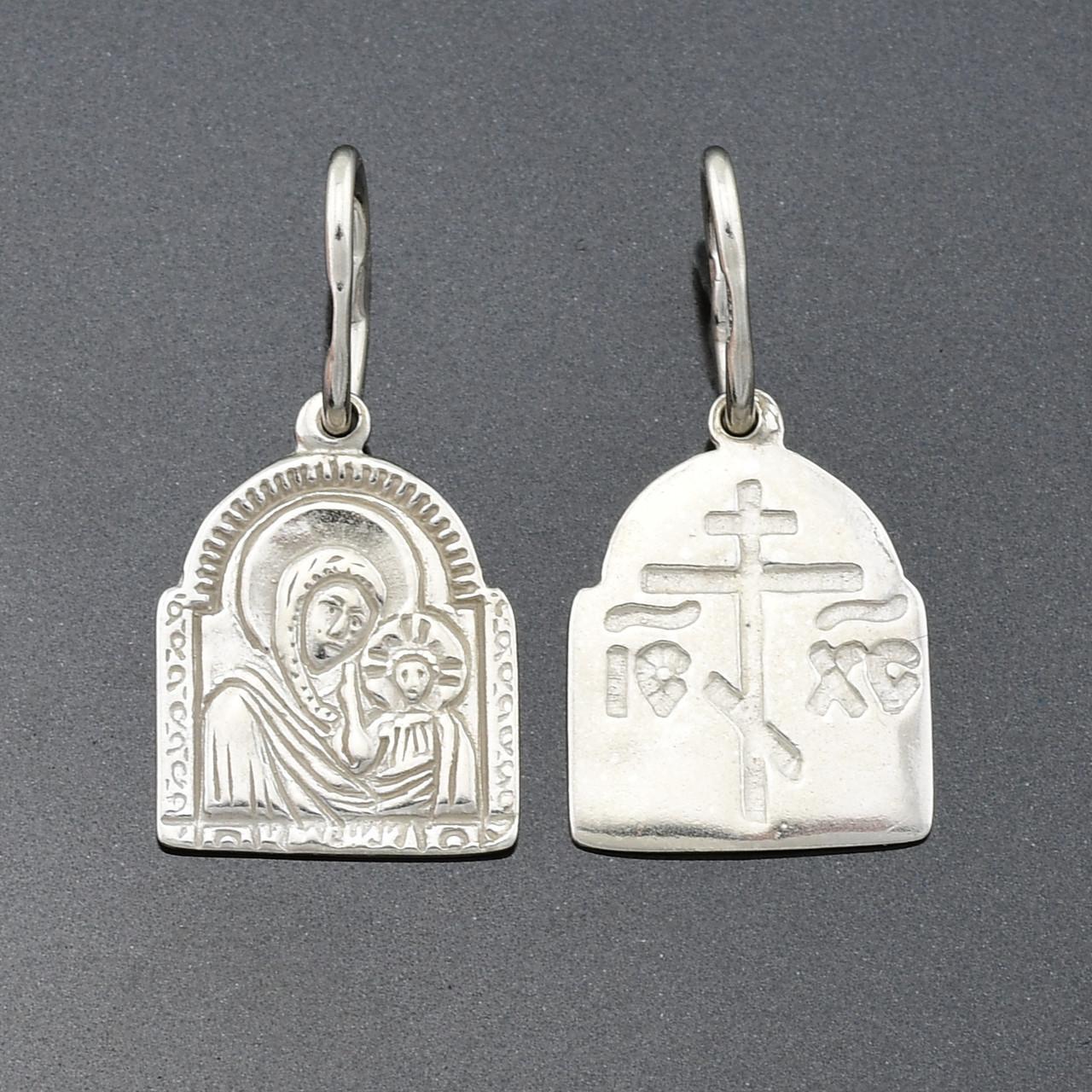 Серебряная иконка Богородица размер 22х11 мм вес серебра 0.88 г