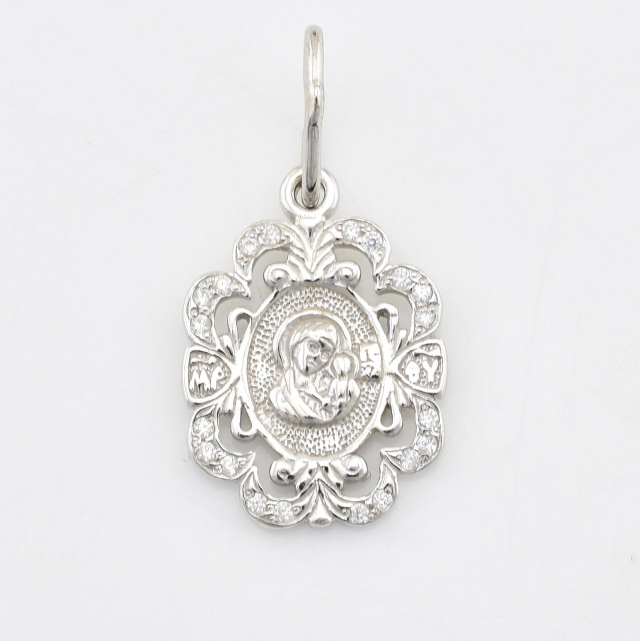 Серебряная иконка Богородица размер 24х13 мм вставка белые фианиты вес 1.6 г