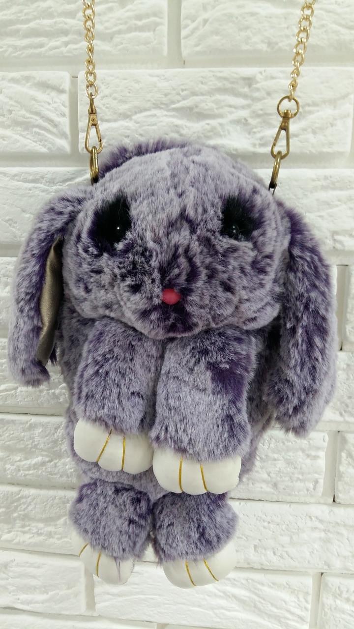Оригинальная сумка-рюкзак Заяц, Кролик, натуральный мех, длинная цепочка