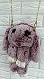Оригинальная сумка-рюкзак Заяц, Кролик, натуральный мех, длинная цепочка, фото 2