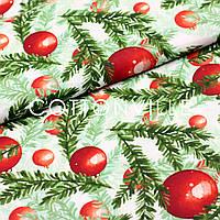 ✁ Отрезы Хлопковой ткани Шары на елочных ветках