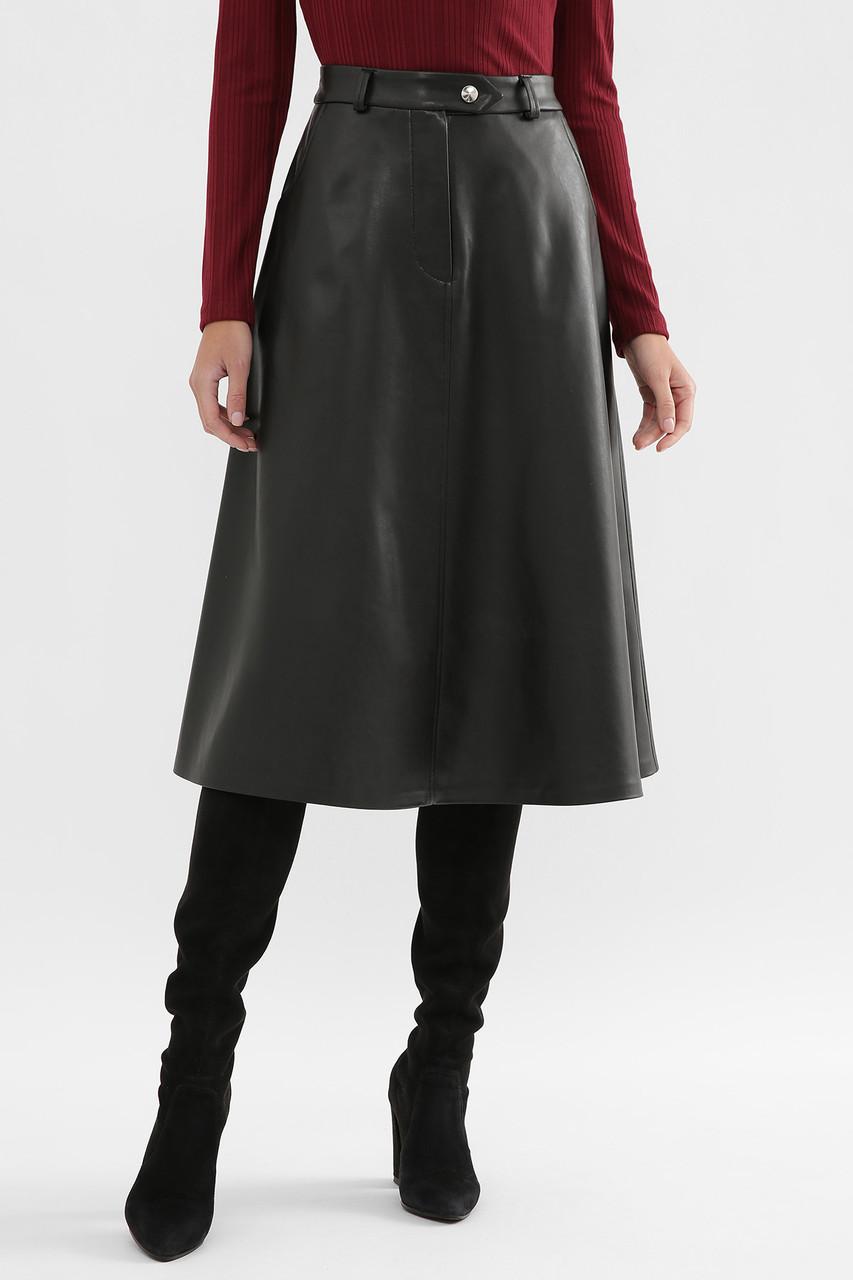 Черная расклешенная кожаная юбка на флисе