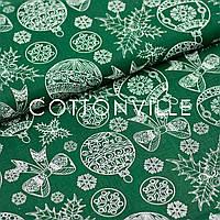 ✁ Відріз Бавовняної тканини Ялинкові іграшки на зеленому