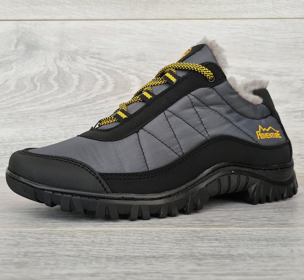 43р Зимові кросівки сірого кольору на шнурівці (КБ-401ч)