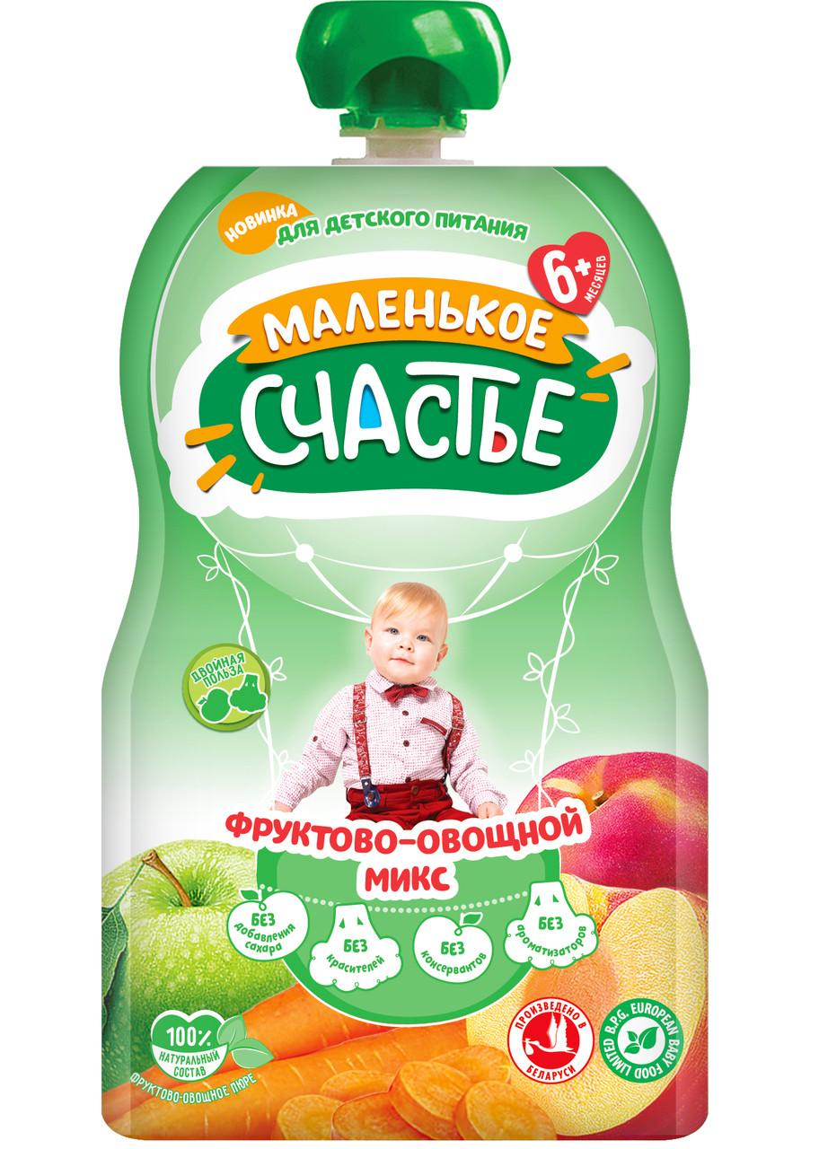 """Пюре Фруктово-Овощной МИКС """"Маленькое счастье"""" 90 гр с 6 мес"""
