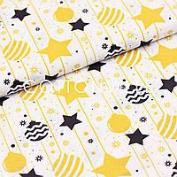 ✁ Отрезы Хлопковой ткани Звездочки золотисто-желтые и графитовые, фото 1