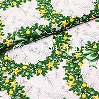 ✁ Отрезы Хлопковой ткани Веночки желто-зеленые