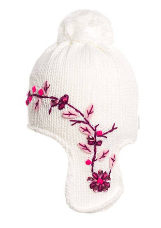 Белая вязаная шапочка на флисе, украшенная бусинами., фото 2