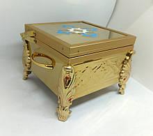 Ковчег на 1 мощевик булатный с чеканкой и эмалью