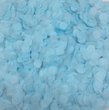 Конфетти кружочки голубые - 10г, размер одного кружка около 1см, бумага