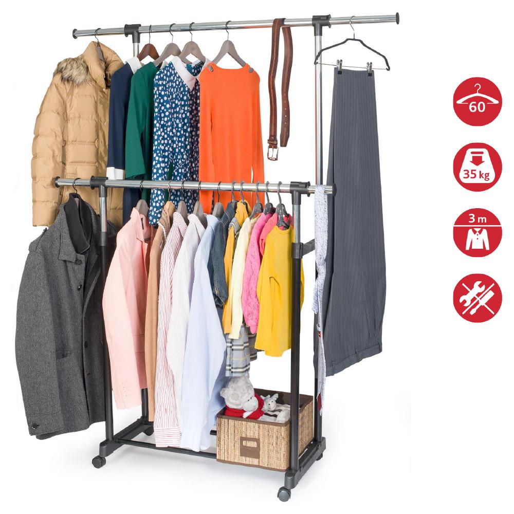 Стойка для одежды Artmoon Toronto двойная с боковыми выдвижными штангами на колесиках 699225