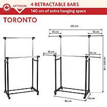 Стойка для одежды Artmoon Toronto двойная с боковыми выдвижными штангами на колесиках 699225, фото 3