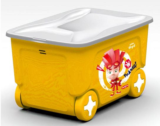 Ящик для хранения игрушек ФИКСИКИ 50л на колесиках со складною крышкой  50л LA1323, фото 2