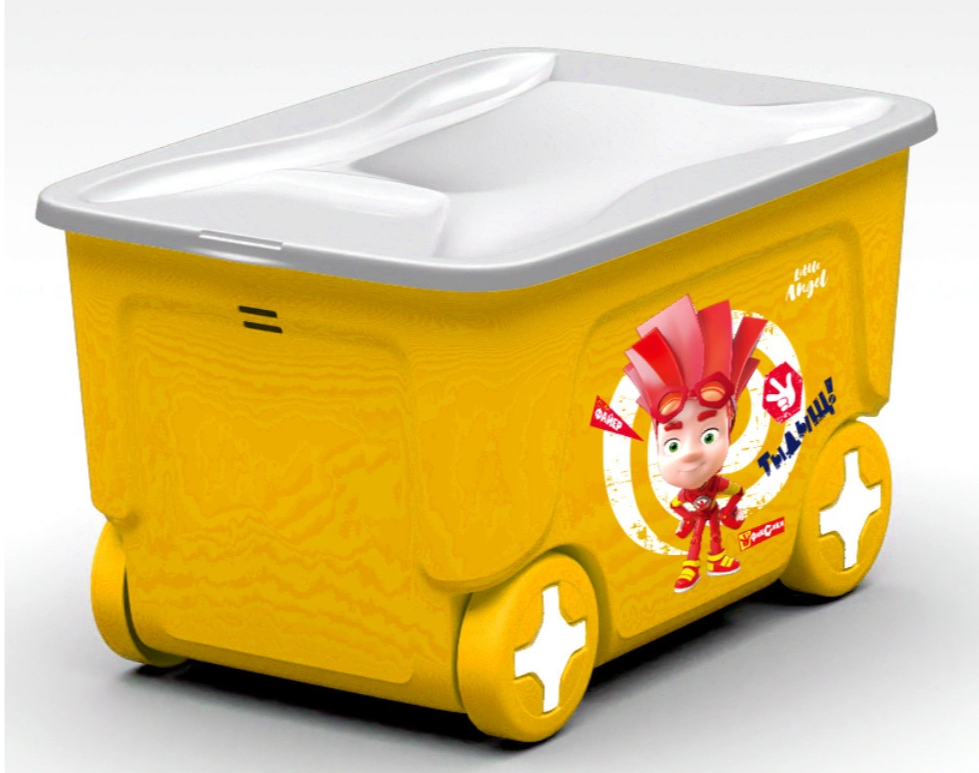 Ящик для хранения игрушек ФИКСИКИ 50л на колесиках со складною крышкой  50л LA1323