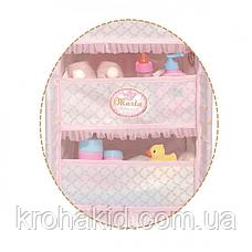Детский металлический манеж для куклы 53034 со стульчиком для кормления и каруселью с подвесками, в коробке, фото 3