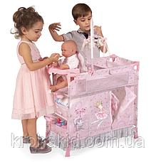 Детский металлический манеж для куклы 53034 со стульчиком для кормления и каруселью с подвесками, в коробке, фото 2
