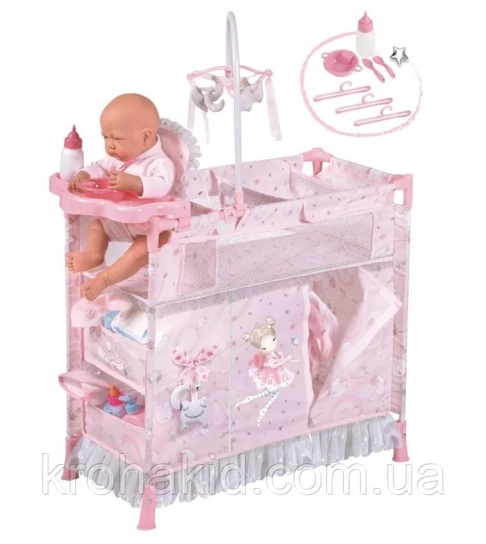 Детский металлический манеж для куклы 53034 со стульчиком для кормления и каруселью с подвесками, в коробке