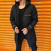 Мужская куртка парка Prada черная удлиненная повседневная прада с капюшоном