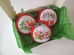 Набір ялинкових іграшок Кулі з поросятами 3 шт.  КОД: SUN2422