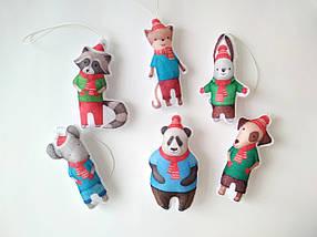 Набір ялинкових іграшок Звірята в шарфах 6 шт.  КОД: SUN2419