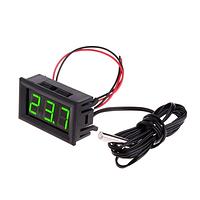 Цифровой термометр -50~110°C, DC 5-12В, с выносным датчиком, зеленый, фото 1
