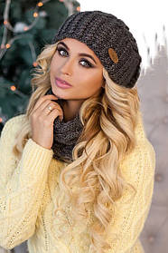 Комплект «Франсуа» (шапка и шарф-хомут) 4361-77 темно-серый