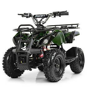 Детский квадроцикл на аккумуляторе (подрастковый)Profi (мотор 800W, 3 аккум) HB-EATV800N-10(MP3) Темно-зеленый