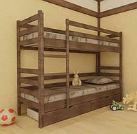 Кровать деревянная двухъярусная 90х200 Соня Elite-Grand сосна орех темный