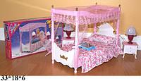 Мебель для кукол кровать /спальня свет Gloria 2314