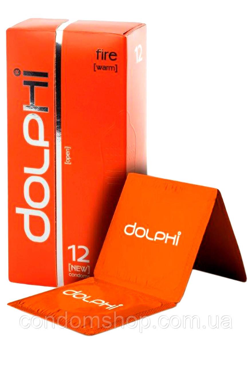 Презервативы Dolphi с точками и рёбрами  с разогревающим возбуждающим  эффектом FIRE #12